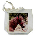 horse art photo drawing on tote bag