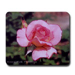 pink rose photo art on mouse pad