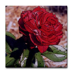 red rose photo drawing on tile