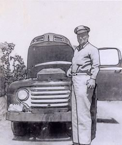 soldier with old car